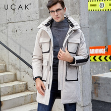 UCAK Brand White Duck Down Jacket Men Winter Thick Warm Long Overcoat Fashion Style Big Pockets Hooded Coat Men Clothes U8016