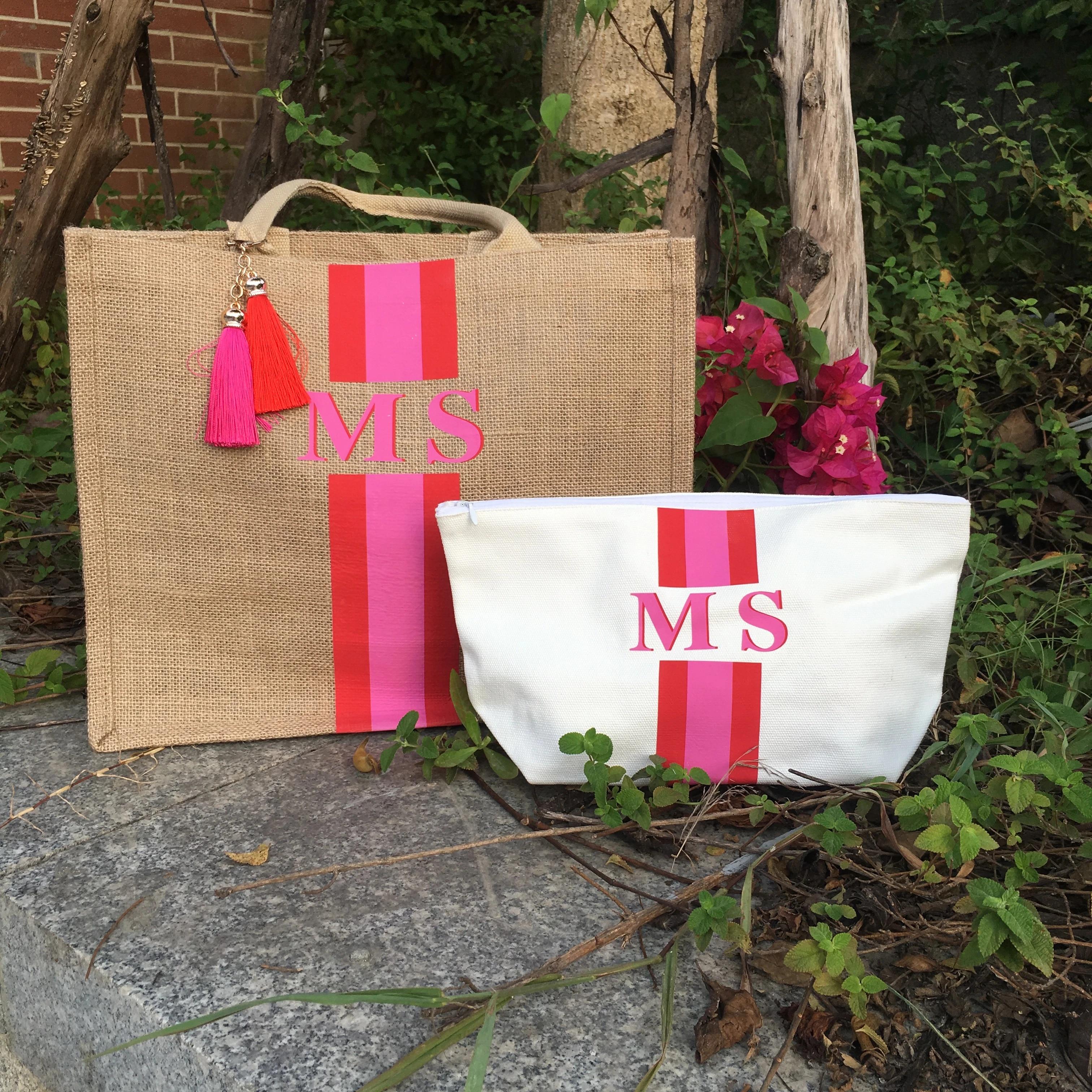 monogrammed striped tote bag