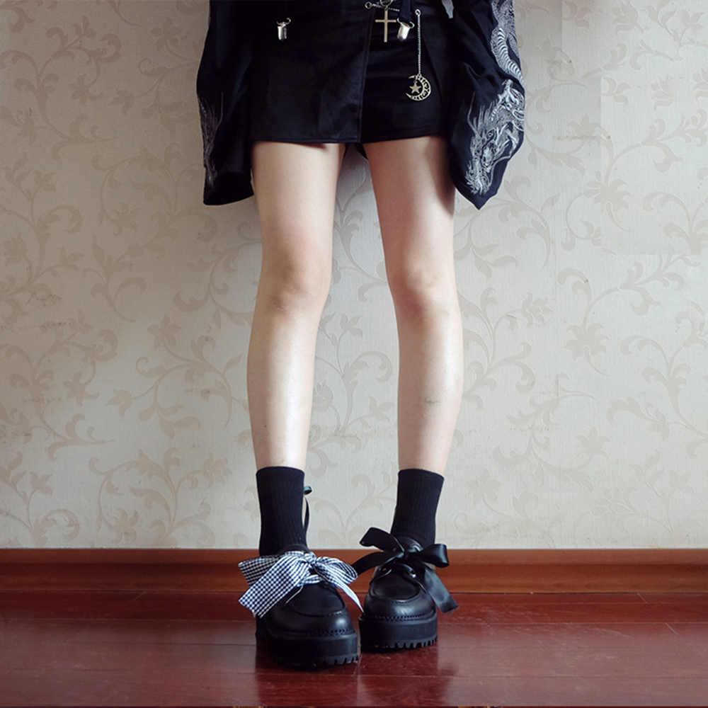 Rosetic Harajuku Kẻ Sọc Thắt Nơ Đế Dày Giày Nữ Anh Lolita Màu Đen Gothic Nữ Cô Gái Vintage Retro Giày