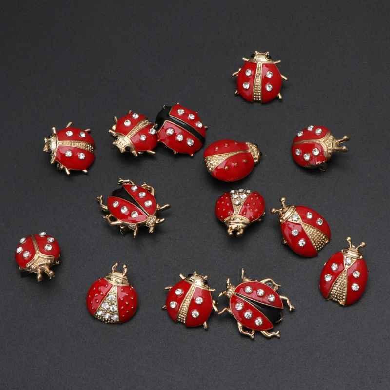 14Pcs Lovely Little Ladybug Spilla Donne Spilla Di Strass di Cristallo Spilli Gioielli