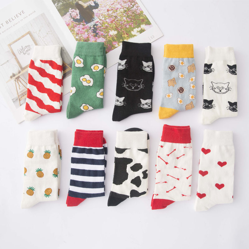 Cute Creative High Quality Fashion Harajuku Kawaii Funny Socks Women Egg Food Painting Cow  Cat Print Funny Socks Cute Sock