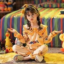 Пижамы для девочек теплая детская одежда с длинным рукавом на