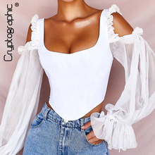 Cryptographic Elegant Womens Blouse Open Shoulders Ruffle Lace Long Sleeve Cropped Tops Fashion Fall 2019 Backless White Shirts
