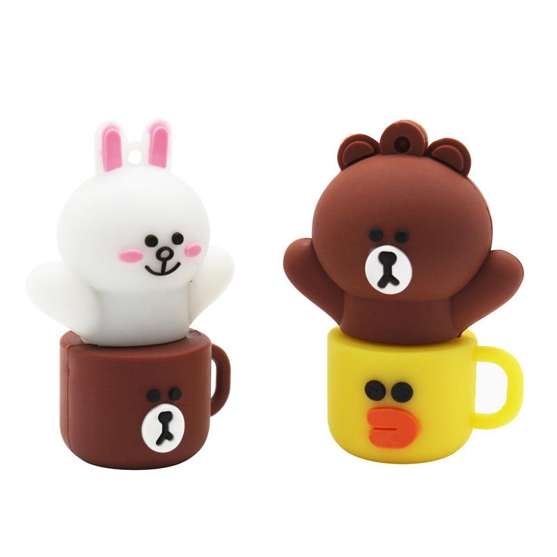 TEXT ME Cute Cartoon Cup Bear Model Usb Flash Drive Usb 2.0 4GB 8GB 16GB 32GB 64GB Creative  Pendrive