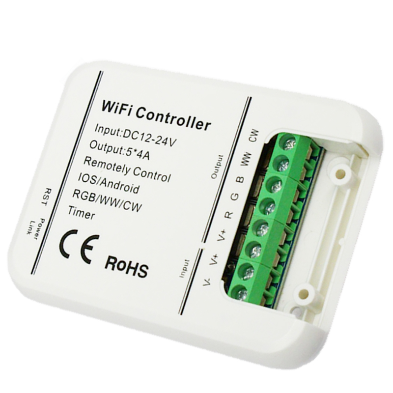 new 4A x 5Channels wifi controller DC12-24V RGB/RGBWW/CW led strip timer mode Music controller IOS Android smart APP link image