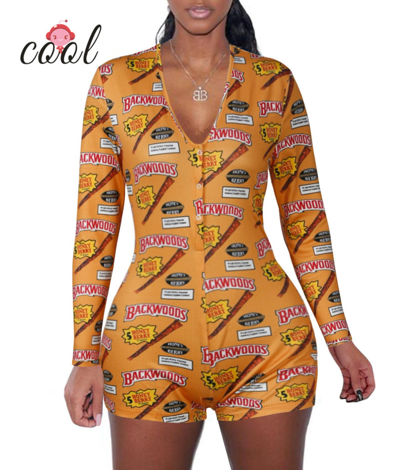 2020 Long Sleeve V Neck Bodycon Stretchy Backwoods Onesie Shorts Rompers Adult Onesie Pajamas For Women