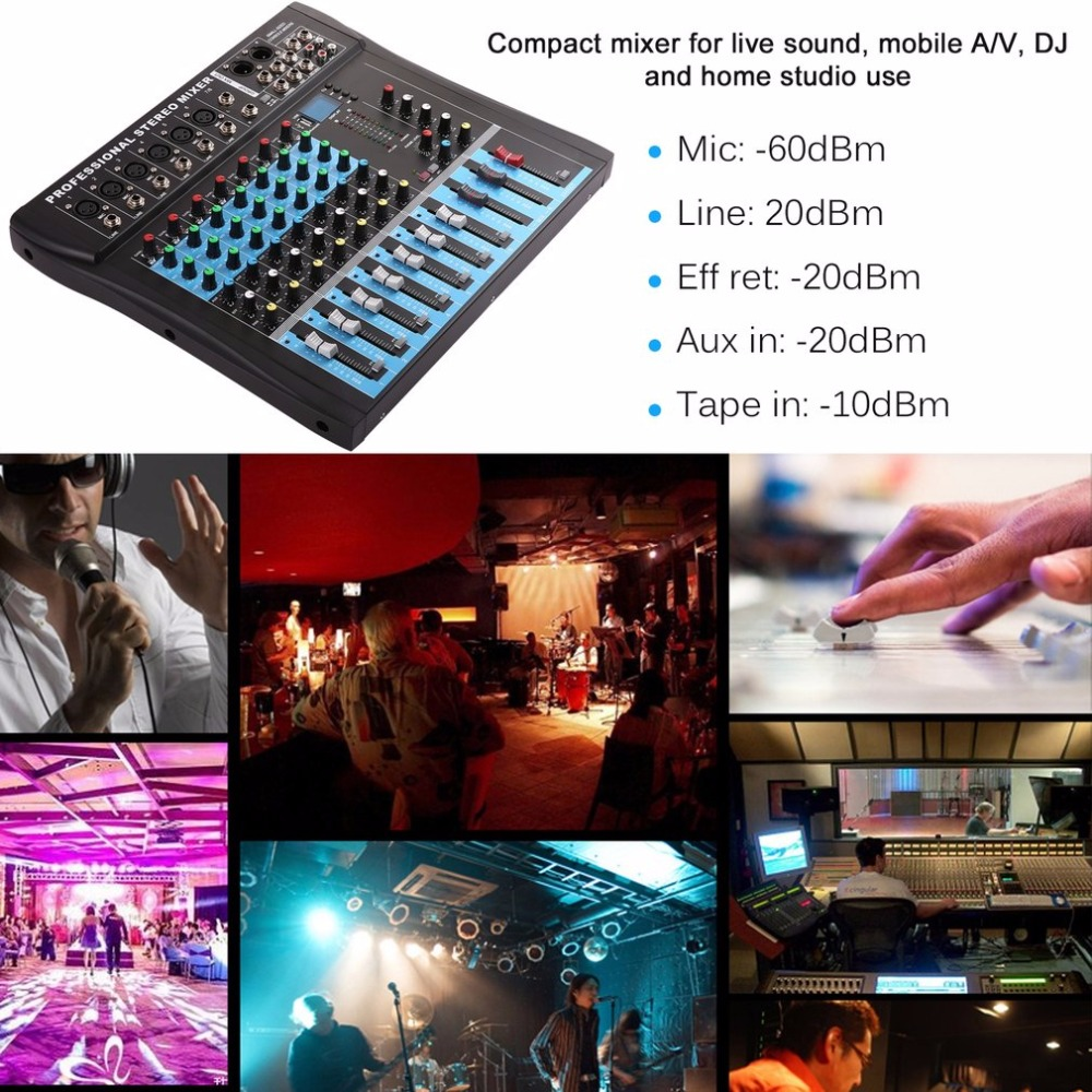 CT8 8 kanałowy profesjonalny mikser Stereo na żywo USB Studio Audio dźwięk konsoli sieci urządzenie kotwica wokal efekt procesor