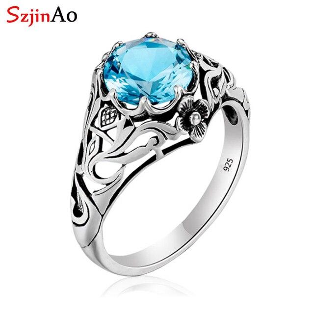 Szjinao Sky Blau Aquamarin Ring 925 Silber Für Frauen Punk 2,1 ct Vintage Edelstein Hochzeit Engagement Luxus Marke Edlen Schmuck