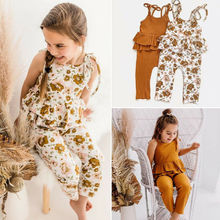 CANIS Newborn Toddler Baby Girl Clothes Sling Neck Ruffle Romper Jumpsuit Floral Outfit Summer canis 2 3 тл