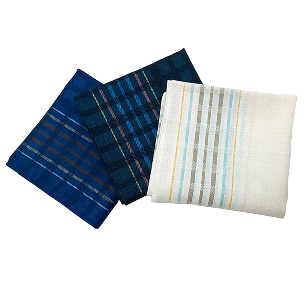 3 Mixed Pack Men's Plaid Print Handkerchiefs Pocket Square Hankies 16x16'