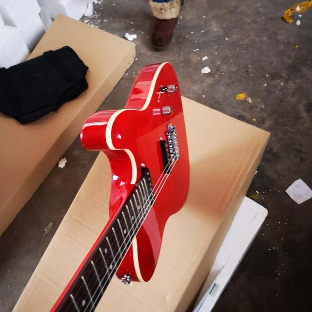 FDTL-2048 red color white binding solid  body with quilted maple venner cover rosewood fretboard  TL electric guitar, Free shipping 3