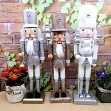 Nueva marioneta 38CM Vintage brillo de polvo Cascanueces brillantes regalo de Navidad adornos navideños para el hogar fiesta