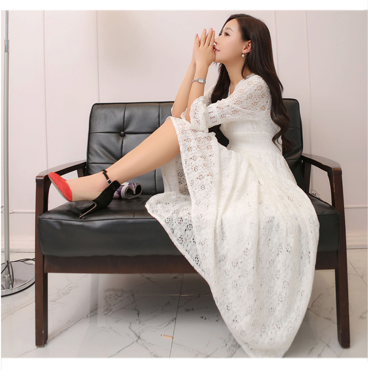 Beach Skirt Women's Summer 2019 Spring Clothing New Style Korean-style V-neck Hollow Out Lace Long-sleeved Dress Slimming Long S