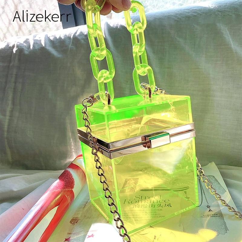 Clear Acrylic Box Clutch Bag Women 2020 Summer Small Square Plastic Transparent Purse Shoulder Bag Girl Vintage Retro Beach bags