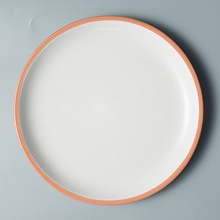 Brief Round Ceramic Dinner Plate Orange Edge Porcelain Household Breakfast Dishes Restaurant Steak Dessert Cake Tray