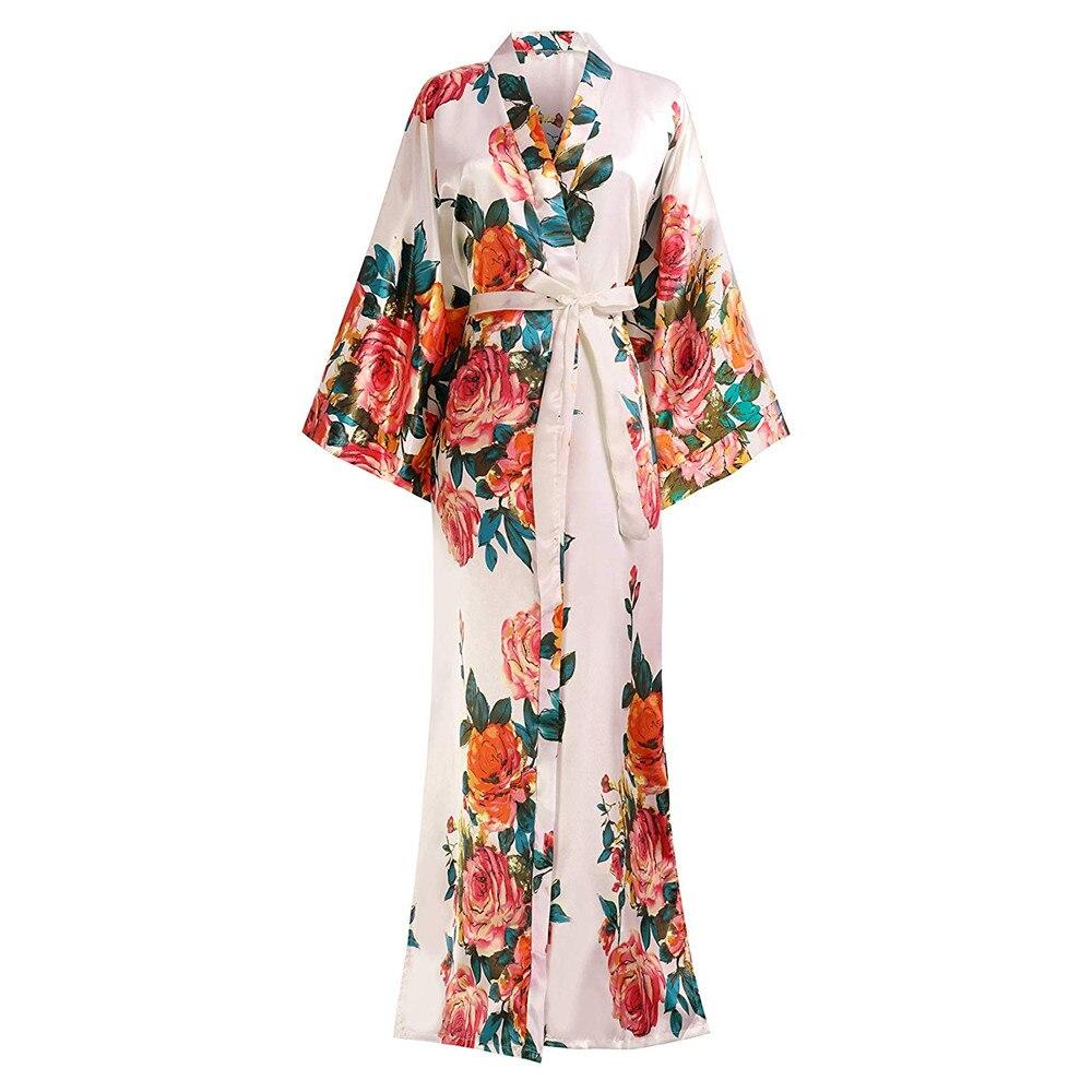 Pink Print Flower Novelty Nightgown Bathrobe V-Neck Chinese Women Sleepwear Robe Half Sleeve Sexy Long Kimono Gown Negligee