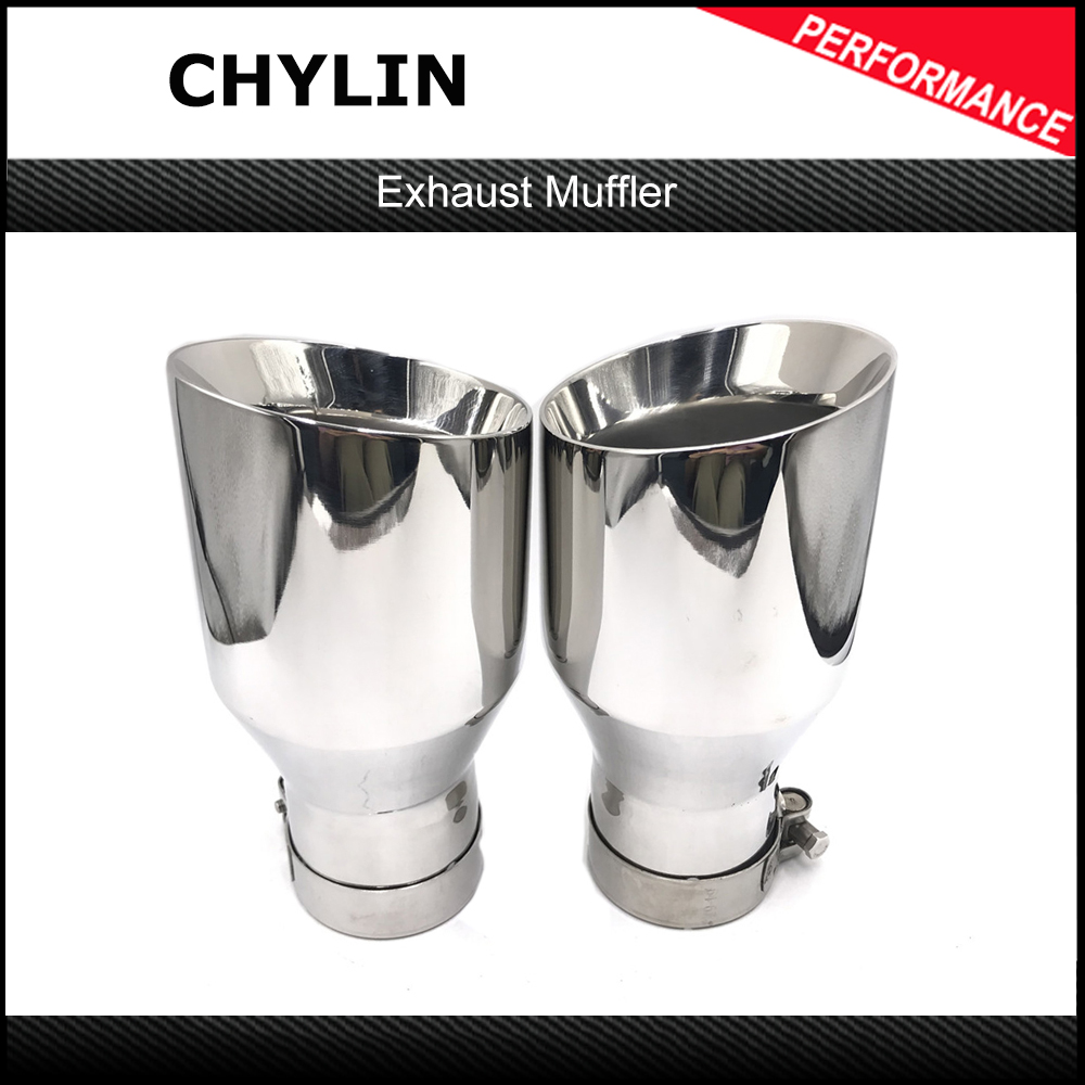Newest Style Stainless Steel UniversalExhaust System End Pipe+Car Exhaust Tip 1 Piece