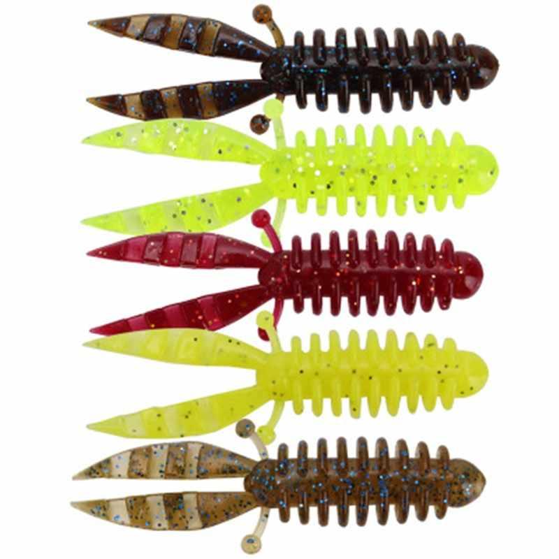 5 Pz/set Morbido Forcella Coda Esche Verme Richiamo di Pesca Artificiale Del Silicone Realistico Fishy Odore Swimbait tentacolo Pesce Tackle Esche