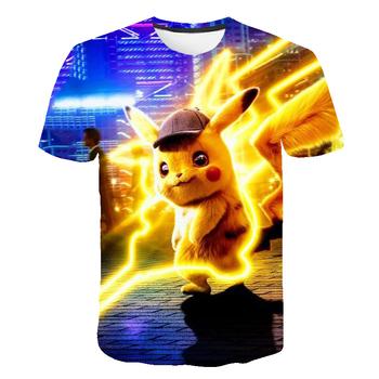 2021 letnie ubrania dla dzieci Pokémon T-Shirt oddychające dziecięce ubrania dla dzieci chłopcy i dziewczęta z krótkim rękawem 3D fajne modne kreskówki tanie i dobre opinie POLIESTER CN (pochodzenie) Lato 25-36m 4-6y 7-12y 12 + y Damsko-męskie moda W stylu rysunkowym REGULAR Z okrągłym kołnierzykiem