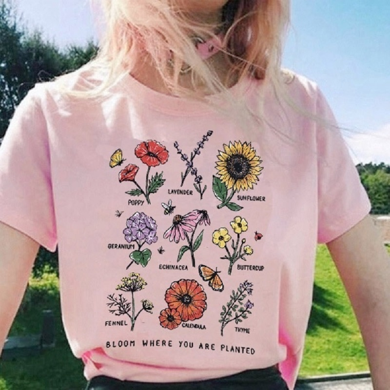 Harajuku Bloom Where You Are Planted Women Tshirt Streetwear Short Sleeve Tops Graphic Tees Botanical Flower O-neck T-shirt 2019