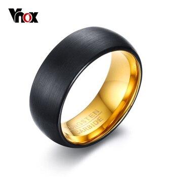 VNOX 8mm Black Matt Surface Tungsten Rings for Men Bridegroom Wedding Band Jewelry Engraved TUNGSTEN CARBIDE