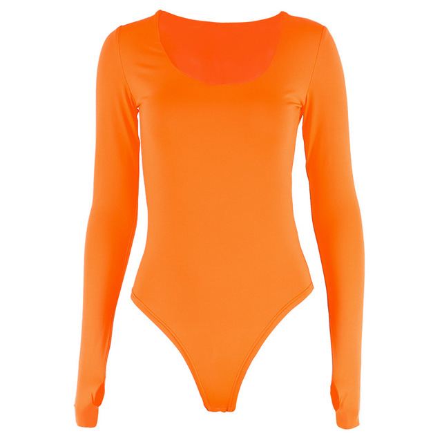 Orange Neon Bodysuit Women Long Sleeve Bodycon Sexy 2019 Autumn Winter Streetwear Club Party Outfits Casual Female Clothing 5