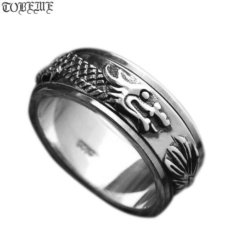 Ձեռագործ 100% 925 արծաթե վիշապի պտտվող մատանի Vintage Thai Silver Dragon Power Turning Ring մաքուր արծաթե մանող օղակ