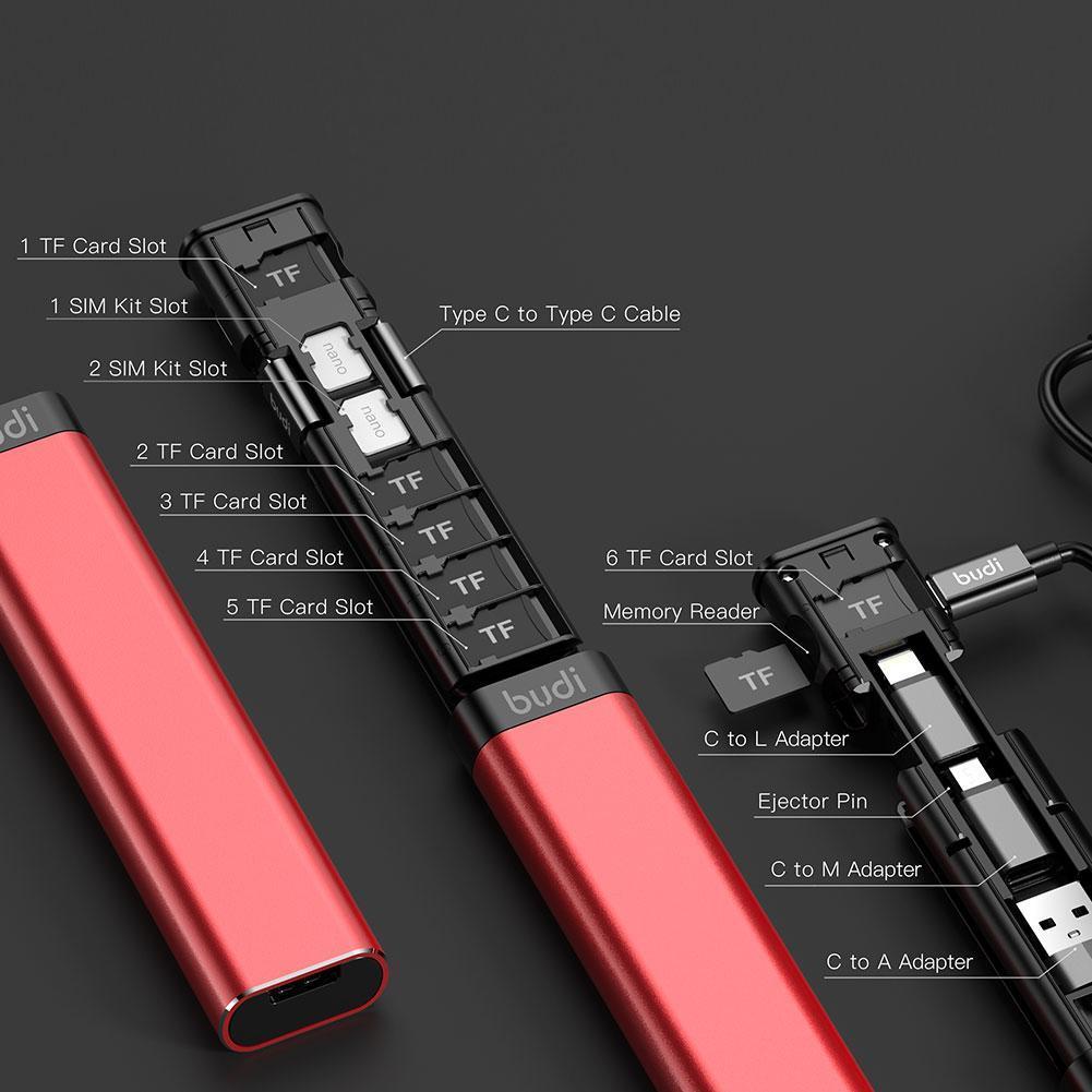 VIP Link BUDI Multi-function Smart Adapter Travelling Protable Three Plugs Card Storage Data Cable USB Box Universal Phone