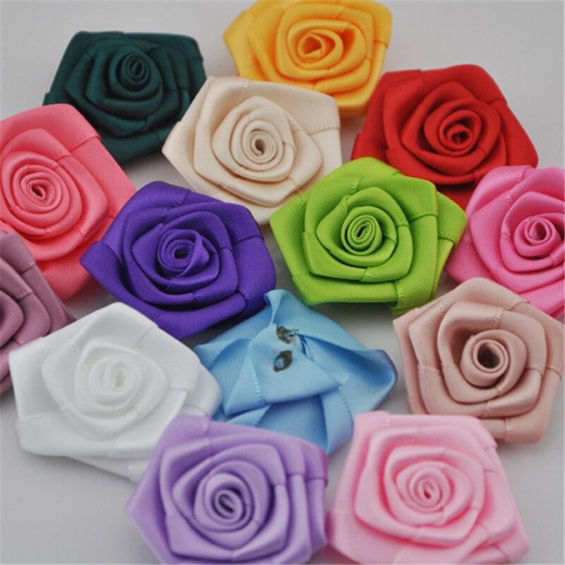 Купить с кэшбэком Newborn Handmade Lovely Mini Satin Ribbon Rolled Fabric DIY Rose Flowers For Girl Hair Accessories/Dress  A056