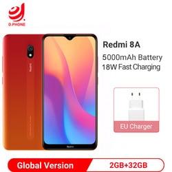 Wersja globalna Xiaomi Redmi 8A w 2GB pamięci RAM i 32GB ROM 5000mAh smartfon na baterie rdzeniowy Snapdragon 439 Octa 12MP kamery telefonu komórkowego 1