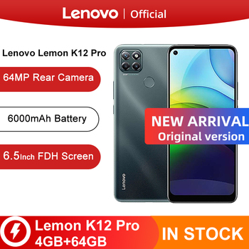 Перейти на Алиэкспресс и купить Оригинальный официальный Lenovo Lemon K12 Pro мобильный телефон 4 Гб 64 Гб 6,5 ''Восьмиядерный процессор Snapdragon 6000 мА/ч, 64MP Android 10 смартфон