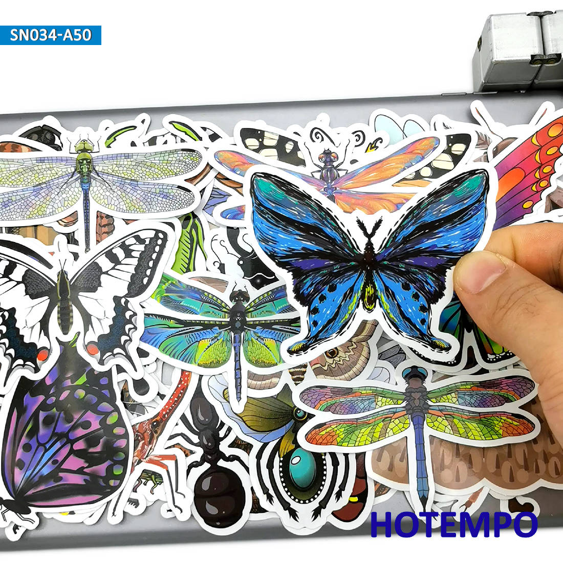 50pcs Funny Insect Butterfly Dragonfly Stickers Toys For Children Kids Gift Scrapbook Stationery Mobile Phone Laptop Art Sticker