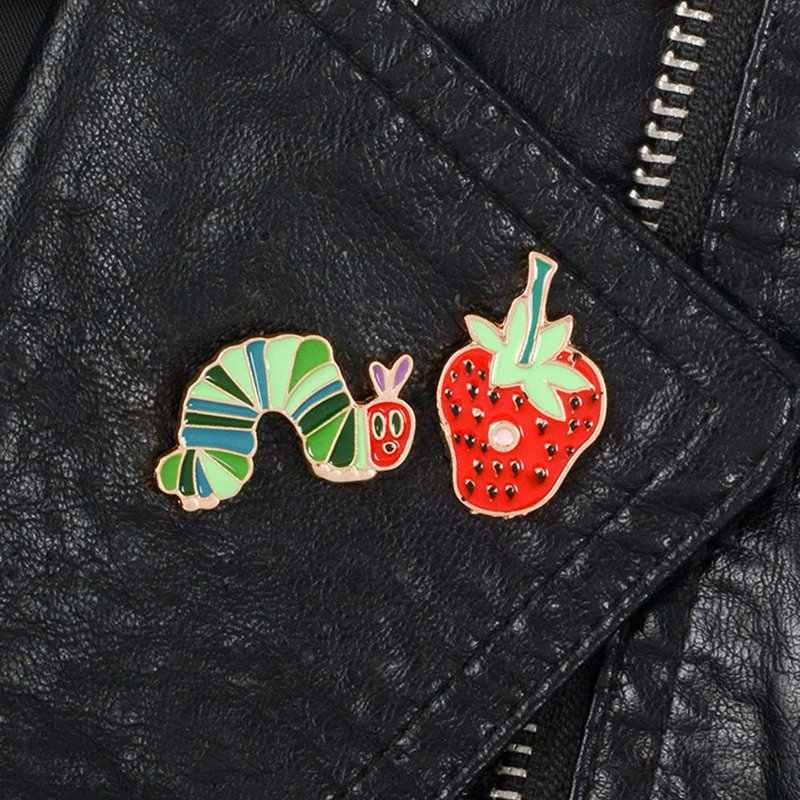 Милая брошь с изображением клубники, насекомых, червя, эмаль, значок для женщин, Детское пальто, мешочек для украшений, одежда, аксессуары, индивидуальная