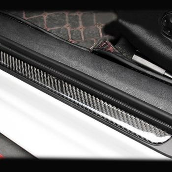 4pcs Carbon Fiber Car Outside Door Sill Plate Guard Frame Trim Fit For Audi A3 2013-2020 Car Styling Decorate Covers Accessories