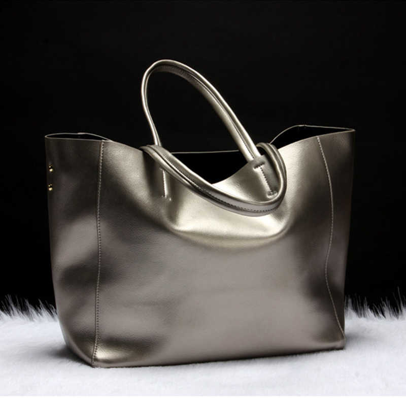 MAHEU Large Capacity Women Tote Bag Genuine Leather Ladies Handbags Black Red Blue Golden Pure Color Simple Design Hand Purse