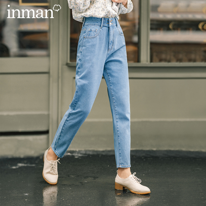 INMAN 2020 Autumn New Arrival Pants Small Feet lean Cotton Washed Simple and Concise Style Bagging Blue Jeans