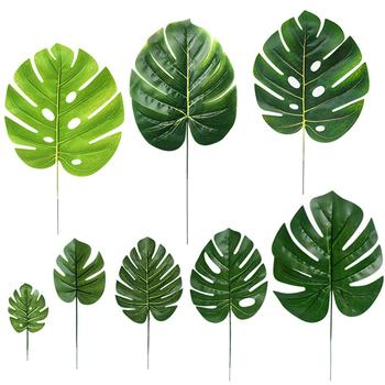 10Pcs Artificial Monstera Turtle Leaf Plant Background Wall Party Decoration image