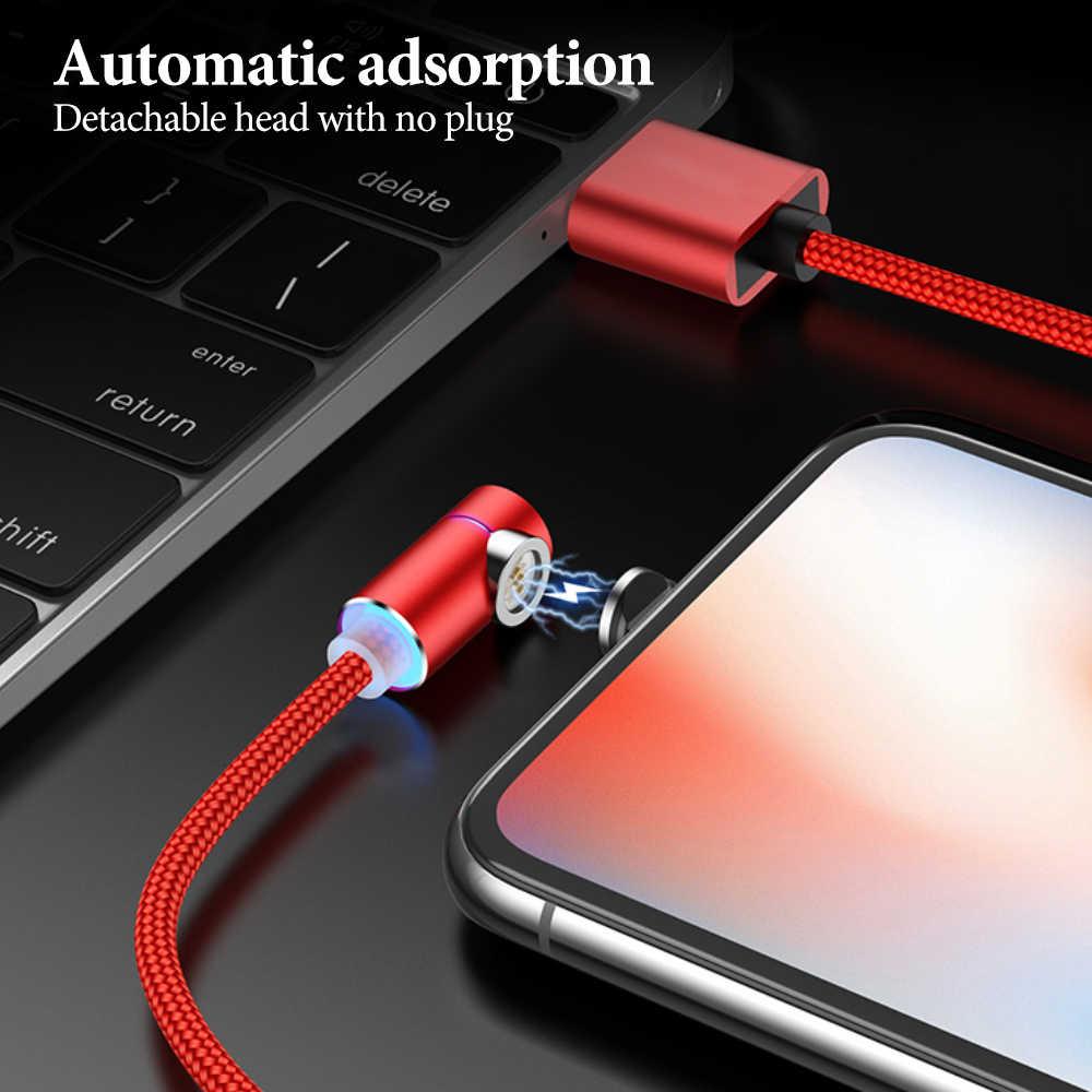ل فون المصغّر USB كابل مغناطيسي المغناطيس سريعة تهمة 2A USB نوع C الكابلات 1m ل شاحن هاتف محمول يعمل بنظام تشغيل أندرويد سريع بيانات الشحن الحبل