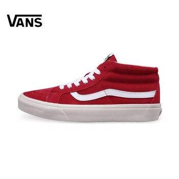 Authentic Classic VANS Skateboarding Shoes Sneakers Classics Red Color VANS Off The Wall Men/Women Sports Shoes Size Eur 36-44 vans рюкзак vans off the wall grape leaf