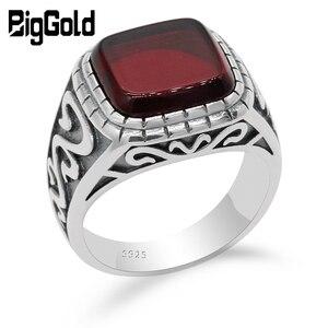 Image 1 - 925 Sterling Silver VINTAGE แหวนผู้ชายสแควร์สีแดงหินธรรมชาติ ONYX เงินไทยแหวนแกะสลักสำหรับชายตุรกี Handmade เครื่องประดับ