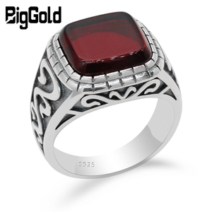 Image 1 - 925 Sterling Silver Vintage Men Ring with Square Red Natural Onyx Stone Thai Silver Carved Ring for Men Turkish Handmade Jewelry