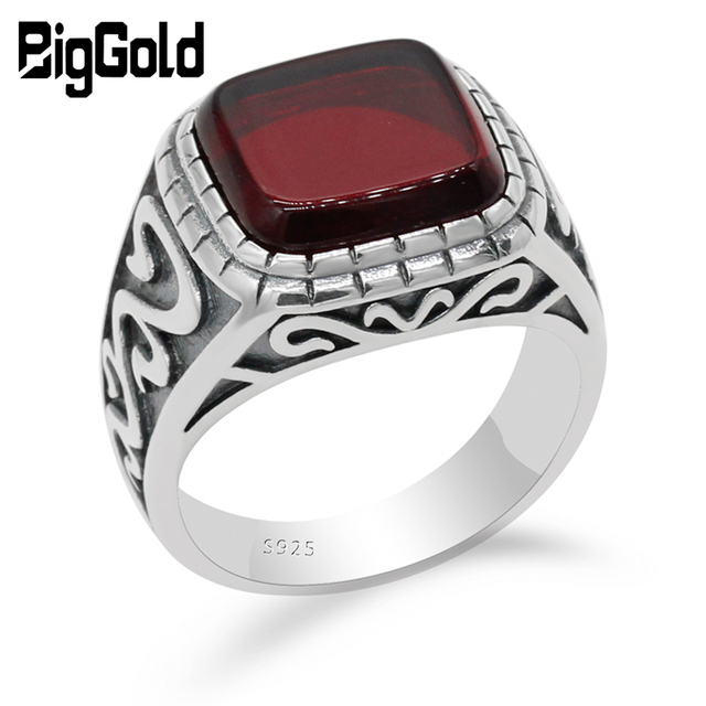 925 Sterling Silver Vintage Men Ring with Square Red Natural Onyx Stone Thai Silver Carved Ring for Men Turkish Handmade Jewelry