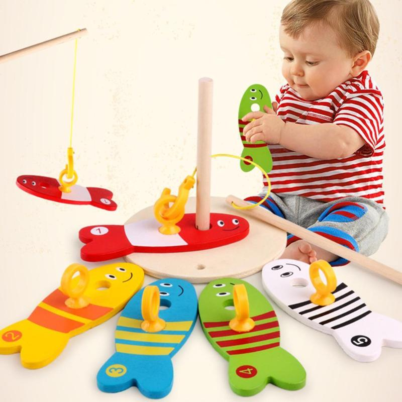8Pcs/set Fishing Digital Colorful Wooden Toys Kids Fish Set Column Blocks Game Children Cute Early Educational Cartoon Funny Toy