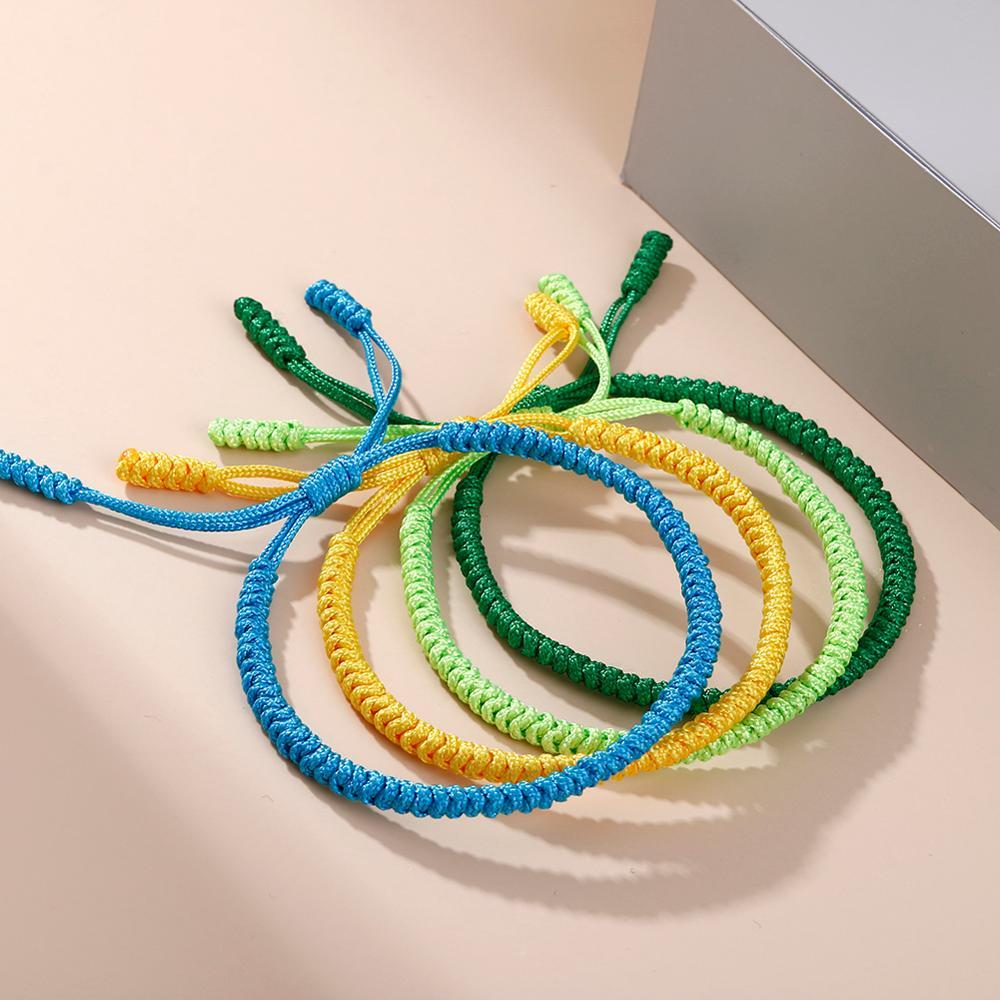 Lucky Red Nylon Thread Bracelet Tibetan Buddhist Handwoven Braided Rope Knots Bracelets Prayer Charm Jewelry Lover Wristbands
