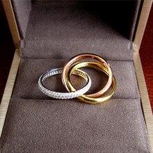 Luxe AAA Zirconia Micro Pave Setting Triple Tiny Ring, geweldig Design, 3 Tones Plating, wedding Sieraden voor Vrouwen R3666