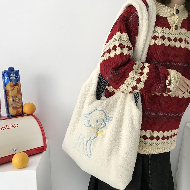 Women Lamb Like Fabric Shoulder Bag Simple Canvas Handbag Tote Large Capacity Embroidery Shopping Bag Cute Book Bags For Girls|Shoulder Bags|   - AliExpress