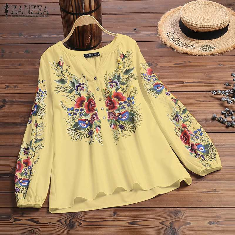 ZANZEA Bohemian Blouse Women Floral Printed Long Sleeve Shirt Spring V Neck Vintage Tops Casual Work Blusas Femme Robe Chemise