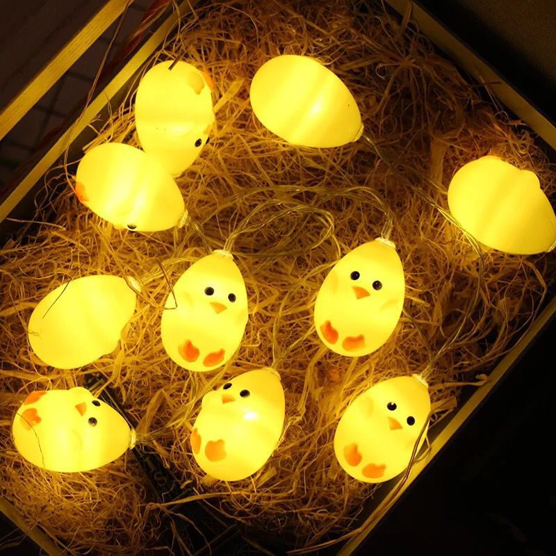 1set <font><b>1.5M</b></font> 10 <font><b>LED</b></font> Warm White Cute Yellow Chicks String Light Chicken Lamp Balcony Bedroom Garland Christmas Easter Decoration image