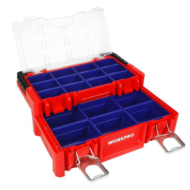 WORKPRO 17-inch Plastic Tool Box 18 Adjustable Compartments Red Storage Box with Locking Lid and Stainless Steel Handle 1