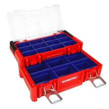 Tool-Box WORKPRO Stainless-Steel Compartments Plastic Red with Locking-Lid And Handle